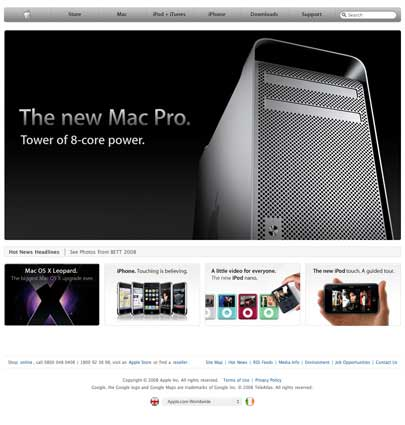Apple Website UK pre MacWorld Keynote 2008
