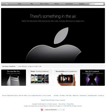 Apple Website pre MacWorld Keynote 2008