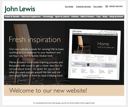 John Lewis, website launch email