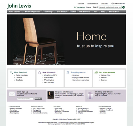 John Lewis, today's website